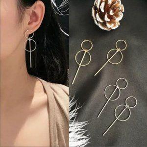 Gold Double Hoop Circle Drop Bar Earrings